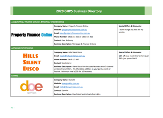GHPS Business Directory