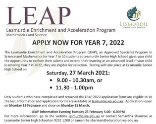 LEAP Lesmurdie Enrichment and Acceleration Program