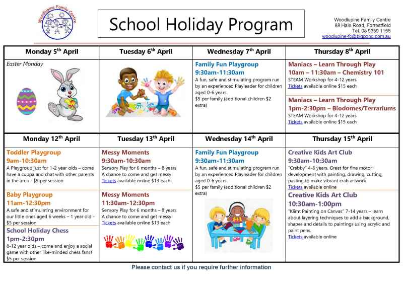 Woodlupine Family Centre – School Holiday Program