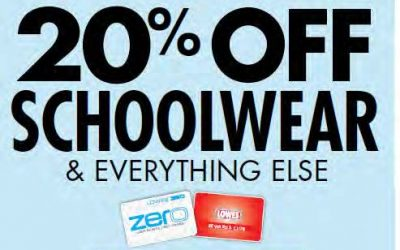 20% Off Schoolwear