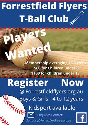 Forrestfield Flyers T-Ball Club Registration Day