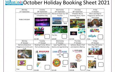 Milestones October Holiday Booking Sheet 2021
